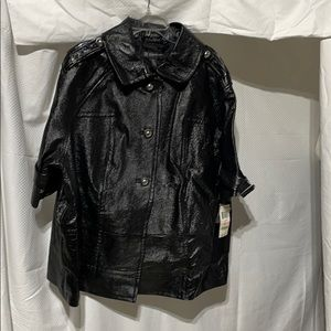 Inc 2x blk leather patent crushed look NWT